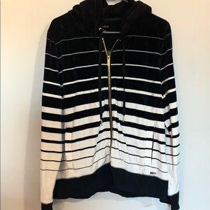 Calvin Klein black and white velour sweater